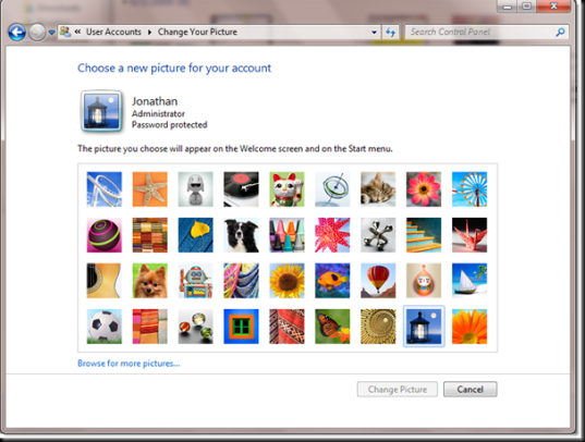 change your picture windows 7