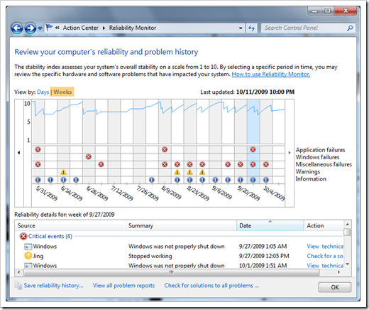 Windows 7 reliability history not updating