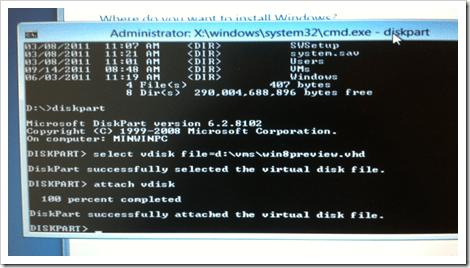 Diskpart to attach VDisk