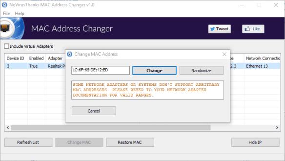 NoVirusThanks MAC Address Changer