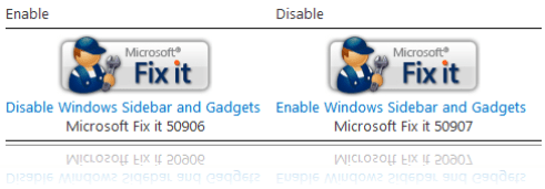 Disable Windows Sidebar Fix it