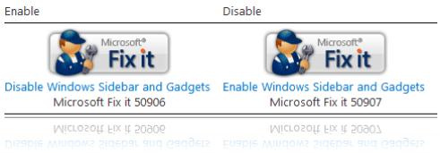 Disable Windows Sidebar Fix it
