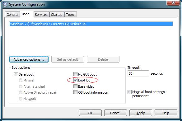 msconfig boot log option