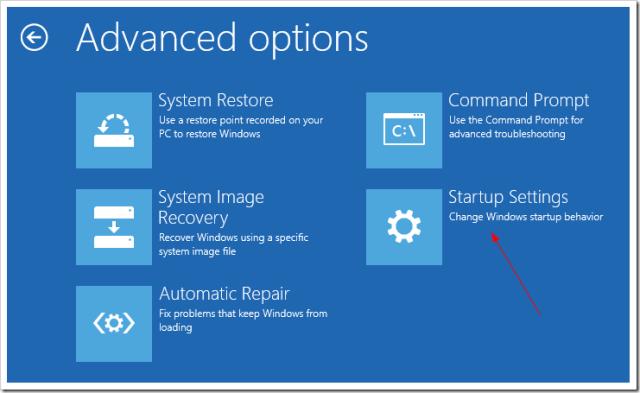 Advanced Startup Troubleshoot Advanced option