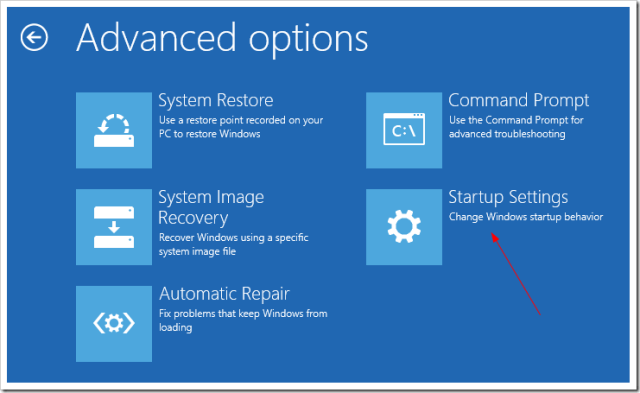 Advanced Startup Troubleshoot Advanced option