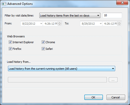 BrowsingHistoryView Advanced Options