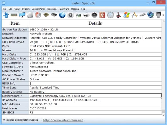 System Spec - Motherboard