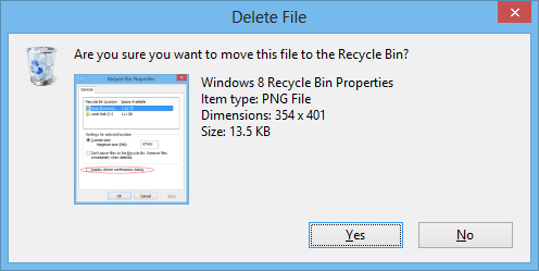 Windows 8 Delete Confirmation box