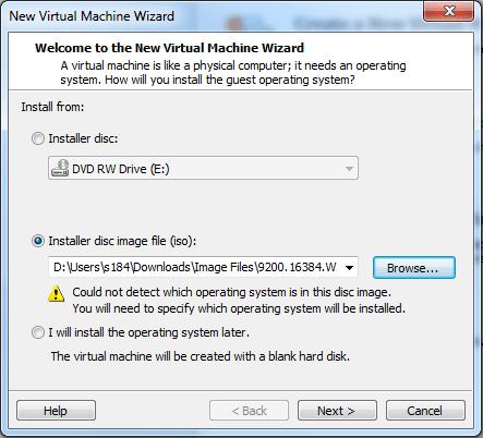 Windows 8 VMware Player set up #1