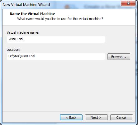 Windows 8 VMware Player set up #3
