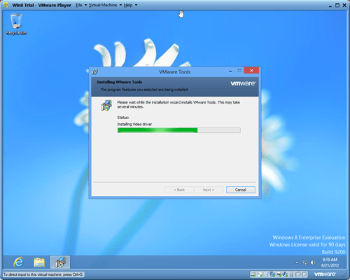 Windows 8 VMware player VMware Tools