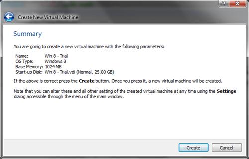 Windows 8 VirtualBox Create VM Summary