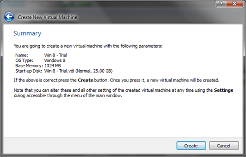 Windows 8 VirtualBox Create VM Summary