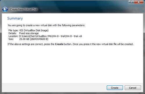 Windows 8 VirtualBox Create Virtual Disk
