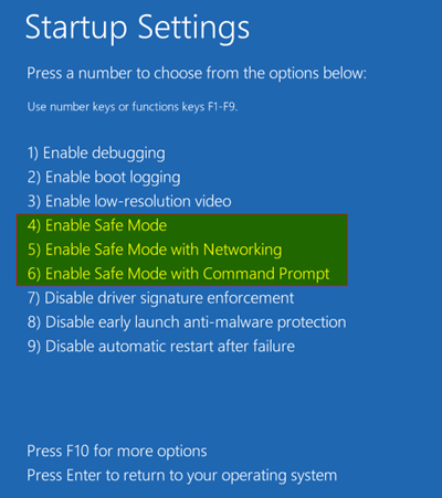 Boot to Safe Mode - Startup Settings