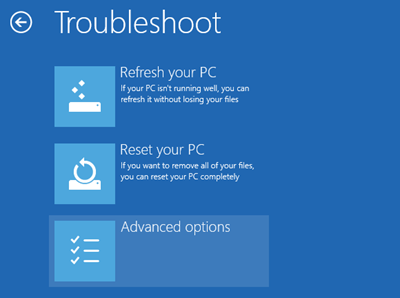 Boot to Safe Mode - Troubleshoot - Advanced options