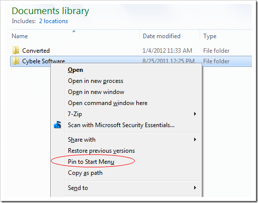 Pin Folder to Start Menu - Right click folder