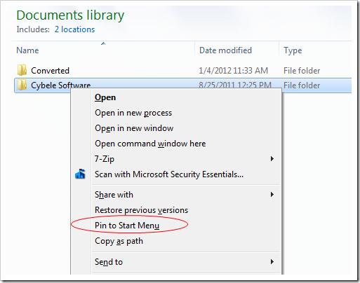 Pin Folder to Start Menu - Right click folder