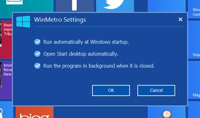 WinMetro Settings