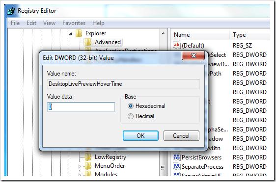 Windows 7 Desktop Peek Registry