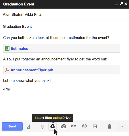 Gmail with Drive - compose