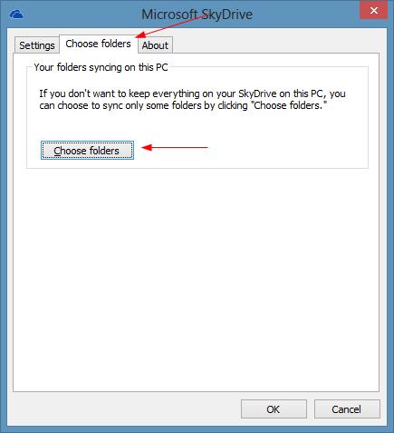 SkyDrive - Settings - Choose Folders
