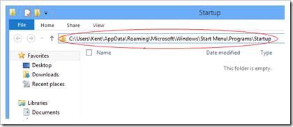 Windows 8 Startup location