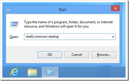 Windows 8 - shell common startup