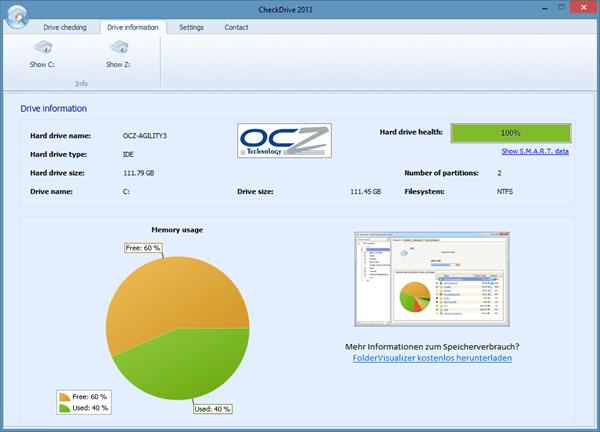 CheckDrive 2013 - disk information