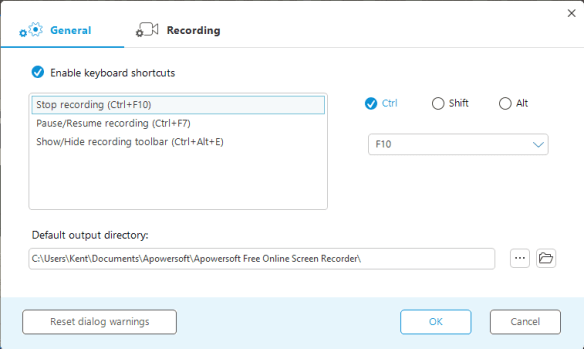 Apowersoft - general settings