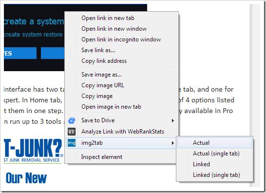 Img2Tab - right click context menu