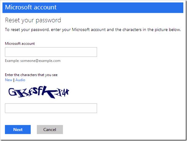 Microsoft Account - Reset your password