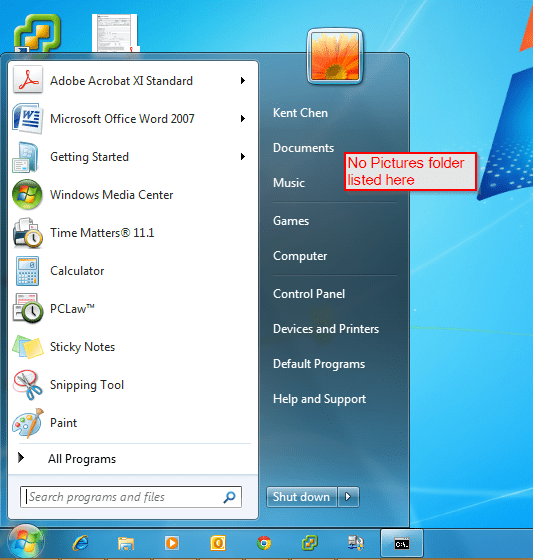 Hide Default Library - Start Menu
