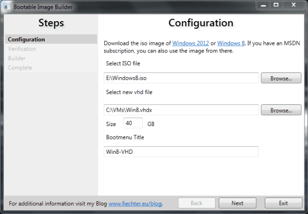 Bootable Image Builder - window