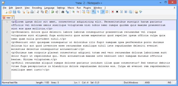 Emmet - dummy text lorem