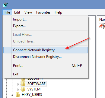 Regedit - connect network registry