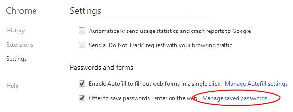 Chrome - saved passwords