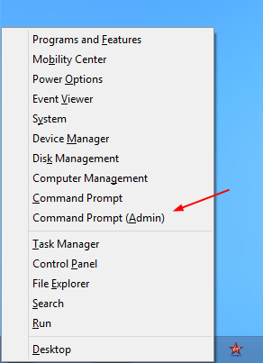 Command Prompt as Admin - Win + X