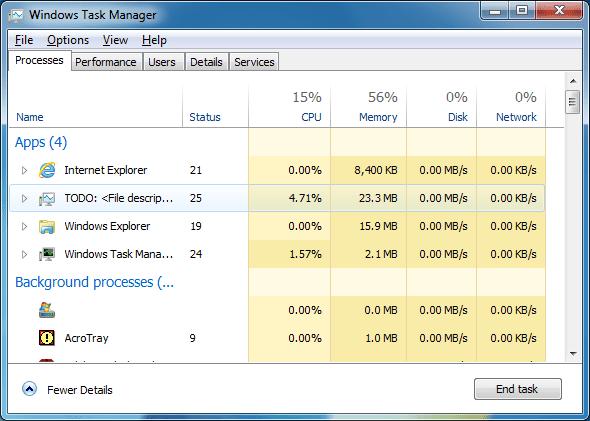 DBCTaskman - Processes tab