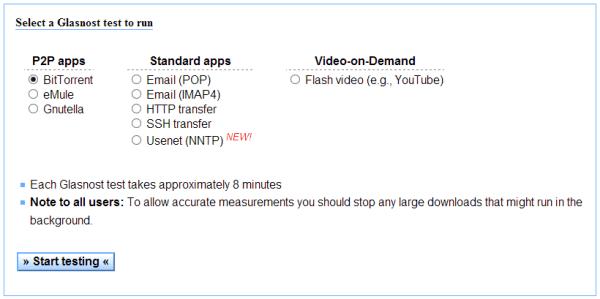 Glasnost - test options