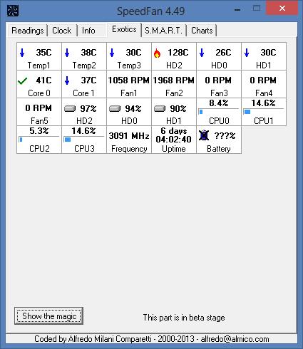 SpeedFan - Exotics tab
