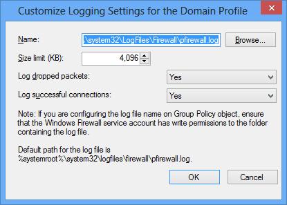 Customize Logging Settings for the Domain Profile