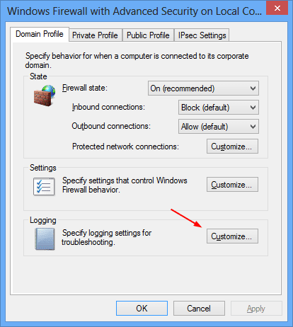 Windows Firewall with Advanced Security on Local Computer Properties