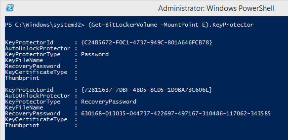 Get-BitLockerVolume to reveal BitLocker Recovery Key