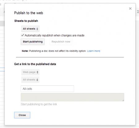 Google Spreadsheet Publish Options