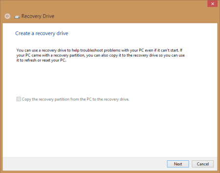 Recovery Drive - step 1 - click Next