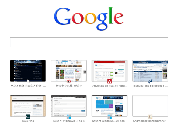 Chrome's New Tab page