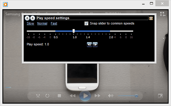 Step 2 - move the slide left or right for slowing down or speeding up the play speed.