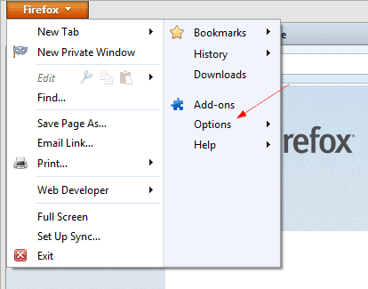Firefox - opening Options window