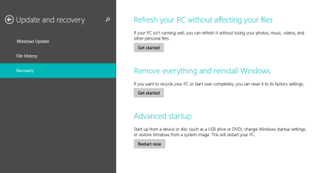 Windows 8.1 Recovery Options